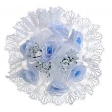Акция! Букет невесты дублер Белоголубые розы 7шт 785332
