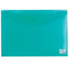 Папка-конверт с кнопкой А3 0,18мм зеленая прозрачная Brauberg 224033