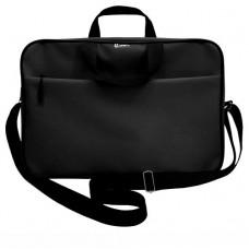 Папка-портфель А4+ ткань цвет черный (на молнии с ручками, карман, ремень) Lamark DC0032-BK