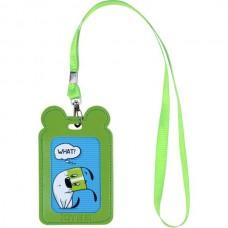 Бейдж на ленте детский 54*85мм вертикальный Зеленый с ушками Kite K21-296-04
