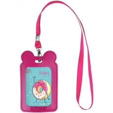 Бейдж на ленте детский 54*85мм вертикальный Розовый с ушками Kite K21-296-10