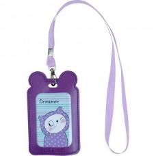 Бейдж на ленте детский 54*84мм вертикальный Фиолетовый с ушками Kite K21-296-11