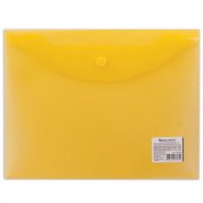 Папка-конверт с кнопкой А5 0.15мм желтая Brauberg 224028