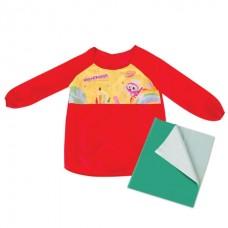 Набор для уроков труда Юнландия (клеенка ПВХ 40x69см, фартук-накидка с рукавами, красный)  228356