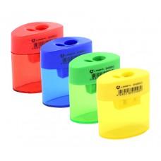 Точилка пластик с контейнером овальный тубус 55*50*18мм Lamark яркая ассорти SH0859-2