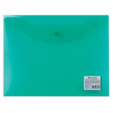 Папка-конверт с кнопкой А5 0.15мм зеленая Brauberg 224025
