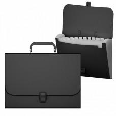 Портфель пластик А4 12отделений на кнопке цвет черный ErichKrause 50437