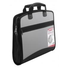 Портфель пластик А4 тканевые ручки серый Berlingo ADb_04028