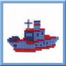 Вышивка Кораблик 5,5*8,5см3цв (схема,нити,материал) Ракета 562