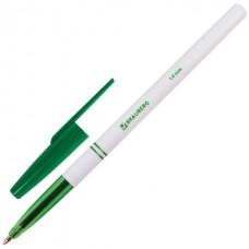 Ручка шар. Brauberg 141511 офисная зеленая 1,0 мм белый корпус