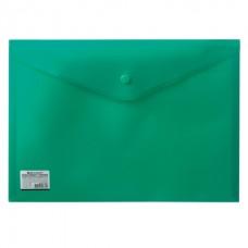 Папка-конверт с кнопкой А4 0,20мм зеленая непрозрачная плотная Brauberg 221363