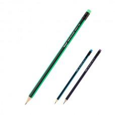 Карандаш дерево ч/г с ластиком Axent НВ черный корпус с цветными полосками на ребрах 9006/12-A
