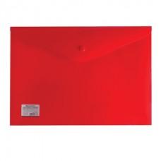 Папка-конверт с кнопкой А4 0,20мм красная непрозрачня плотная Brauberg 221364
