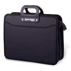 Портфель с пластиковыми ручками А4 на молнии черный (ручка, замок, 2отдела) Премьер Brauberg 223082