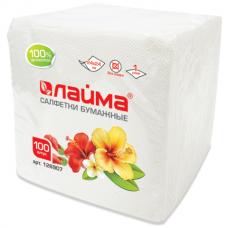 Салфетки бум. 100л белые 100% целлюлоза (24*24см) ЛАЙМА 126907