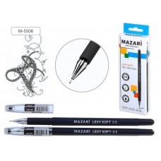"""Ручка гель игольчатая Mazari черная 0,5мм LEXY SOFT корпус с покрытием M-5506-71 након. """"кристалл"""""""