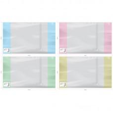 Обложка тетради 210*350мм 110мк с закладкой, цветной клапан ПВХ 23605  (14)