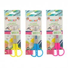 Ножницы детские 120мм Mazari MEER пластиковые ручки с защит.футляром блистер M-5611