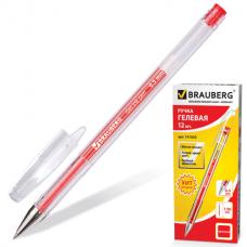 Ручка гель Brauberg красная 0,5мм прозрачный корпус JET 141020