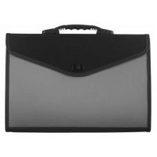 Портфель пластик А4 13отделений на замке черный/серый Lamark DC0017-GR