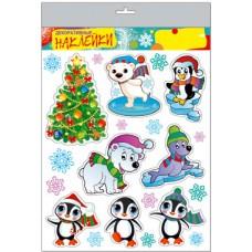 Наклейка декоративная 30*40см Новогодняя (елка,пингвины,животные) РД 36375