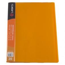 Папка 20файлов неон оранжевая 0,65мм жесткая Lamark DB0033-IMOR
