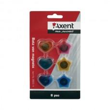 Магнит для доски (набор 6шт) 25мм сердце, звезда цветные Axent 9822-A