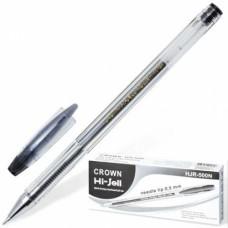 Ручка гель игольчатая Crown черная 0,5мм HJR-500N