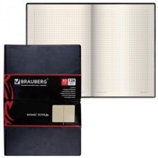Записная книжка А5 128л кожзам BLACK JACK черная резинка-фиксатор Brauberg 125240