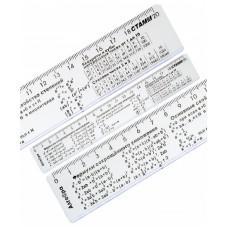 Линейка справочная АЛГЕБРА 20см пластик Стамм ЛС03