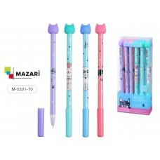 Ручка пишет-стирает гелевая Mazari 5301 синяя 0,5мм Кошечка Miao M-5301-70 (стирается ластиком)