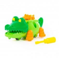 Конструктор на шурупах пластик 17 детали Крокодил с отверткой в пакете Полесье 84446